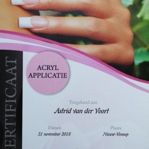 Certificaat Astrid acryl applicatie