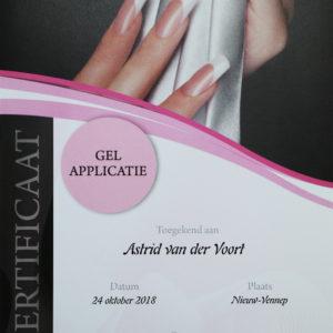 Certificaat Astrid gel applicatie