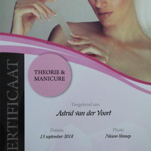 Certificaat Astrid theorie manicure