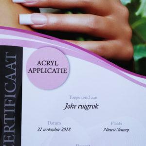 Certificaat Joke acryl applicatie