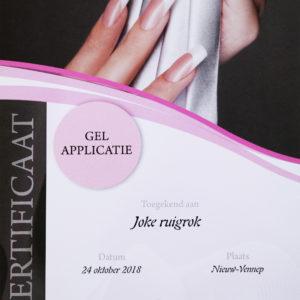 Certificaat Joke gel applicatie